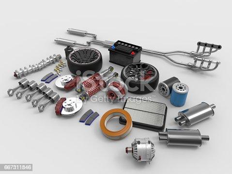 istock Car parts on white background. Tires, sparks, brakes, battery, turbine, alternator, oil filter.3D rendering. 667311846
