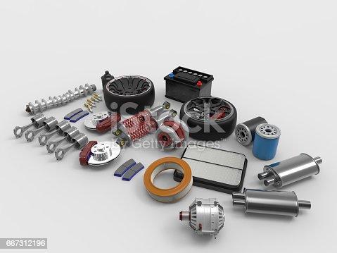 istock Car parts on white background. Tires, sparks, brakes, battery, turbine, alternator, oil filter.3D rendering. 667312196