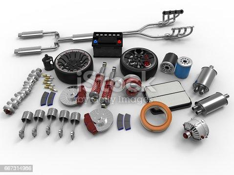istock Car parts on white background. Tires, sparks, brakes, battery, turbine, alternator, oil filter.3D rendering. 667314986