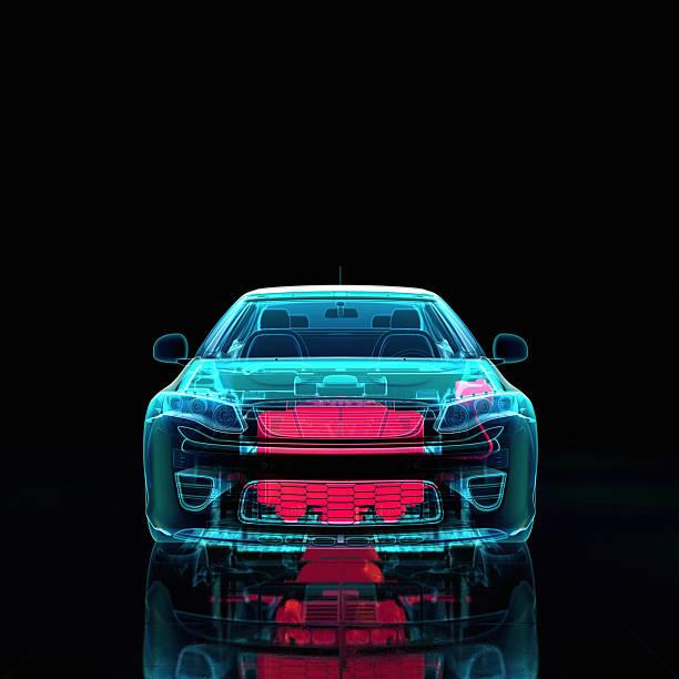 Car parts X-ray style stock photo