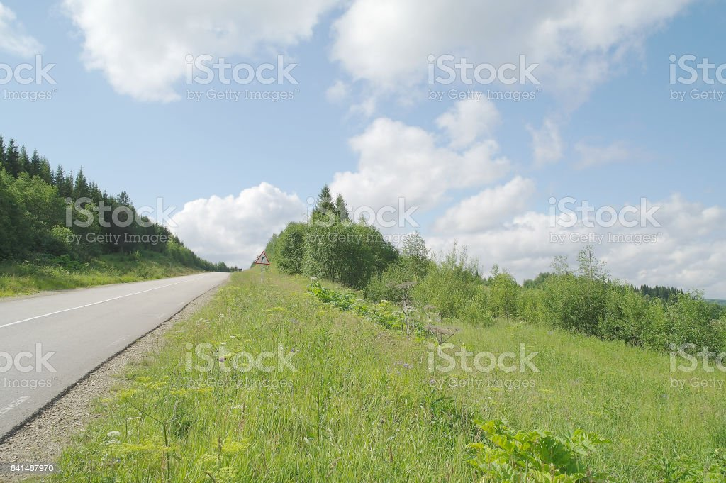 Car paved road on the nature of the forest and fields, Syktyvkar region stock photo