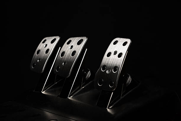 Car Pedal Car Pedal  chrome pedals high quality studio shot vehicle clutch stock pictures, royalty-free photos & images