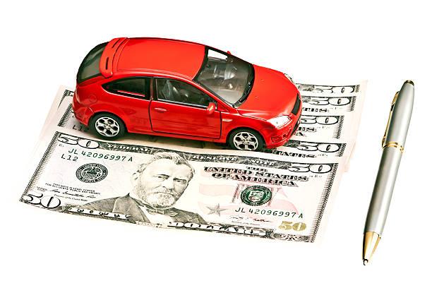 車、ペンとお金 ストックフォト