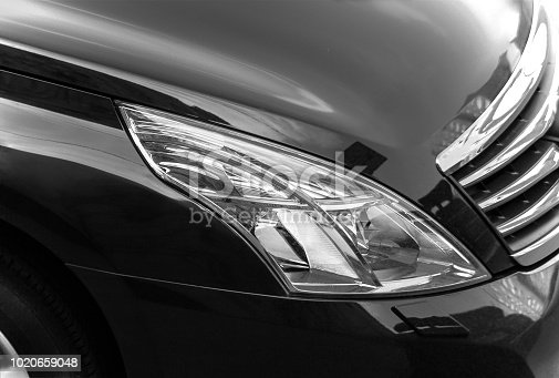 closeup of the black limousine