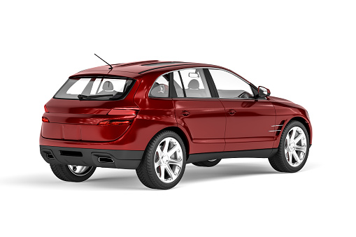 Small SUV car in metallic red isolated on a white background - rear view - 3D render