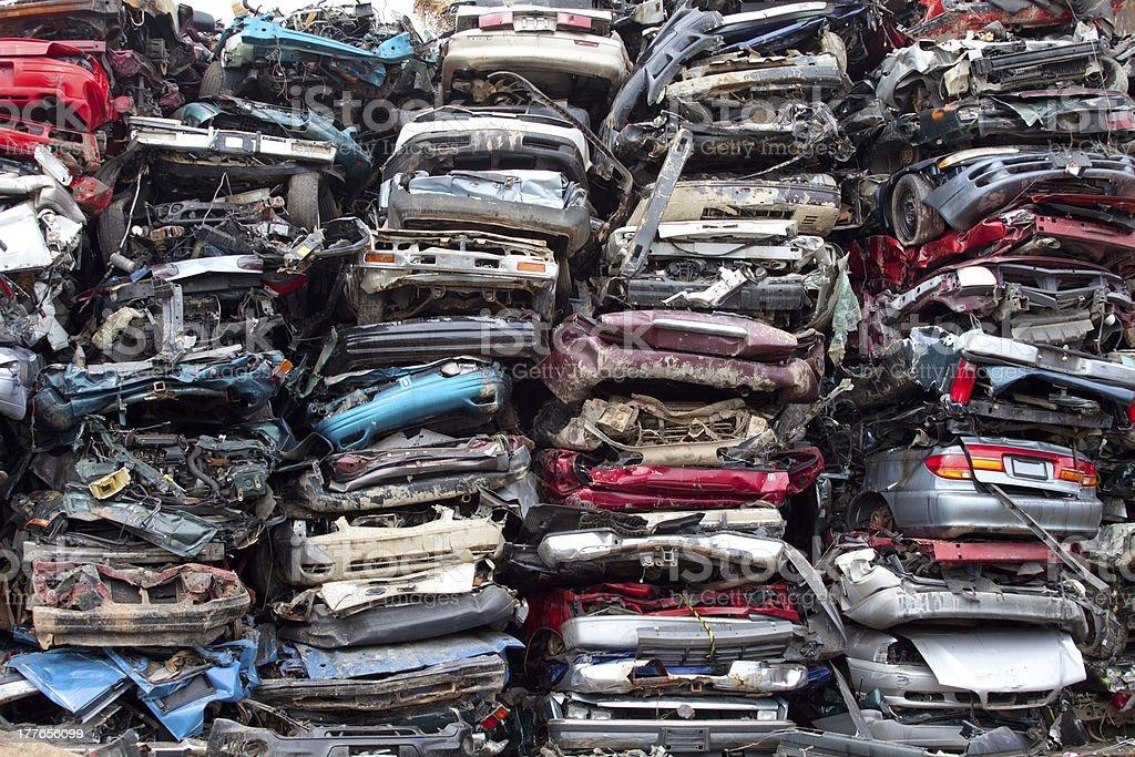 Car piles crushed stock photo