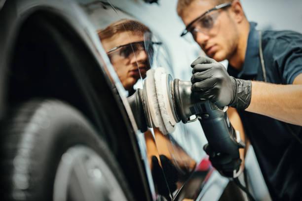 Car polishing service. stock photo