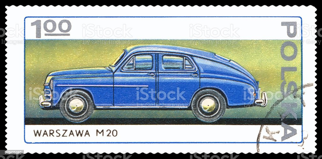 Car postage stamp royalty-free stock photo