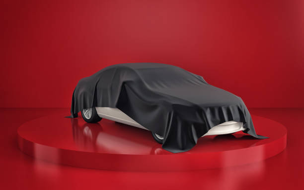 Car presentation in red showroom. 3d rendering stock photo