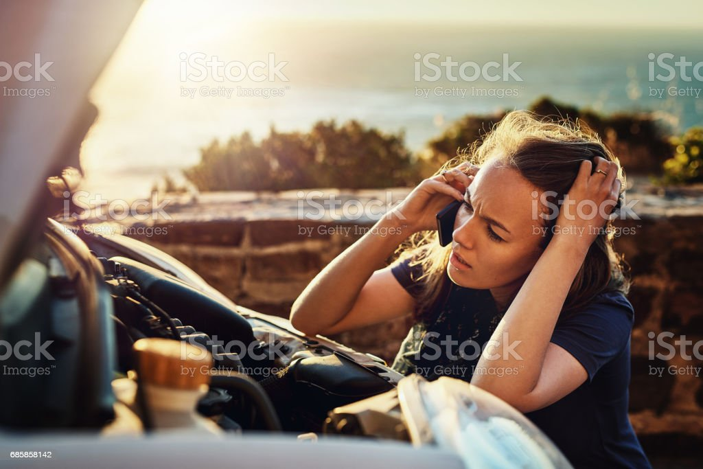 Car problems are so frustrating stock photo