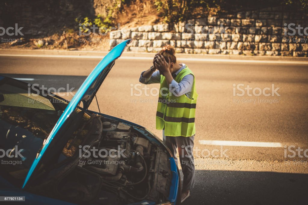 Car problems on the road stock photo