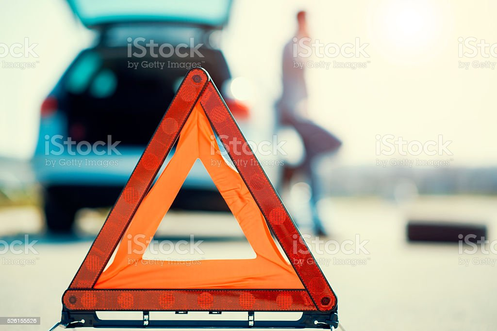 Car problems, red warning triangle! stock photo