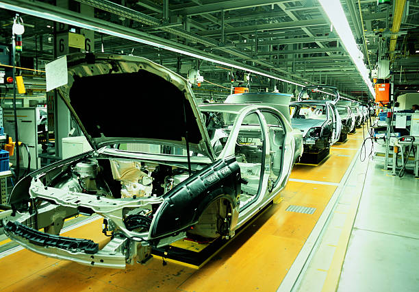 car production line - production line stock photos and pictures