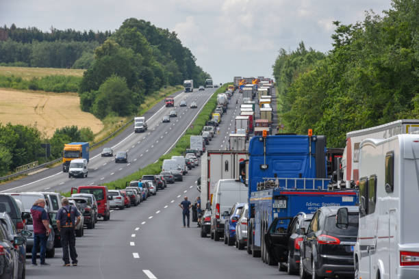 Car queue for accident on the highway at Kassel on Germany stock photo