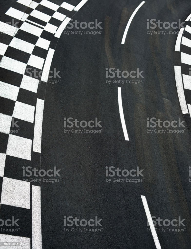 Car race asphalt on Grand Prix street track stock photo