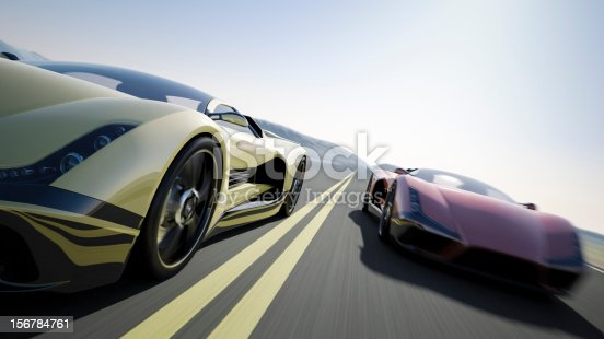 Two sports car racing on the open road. The cars are designed and modelled by myself. Very high resolution 3D render composite. All markings are ficticious.