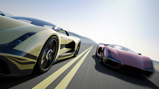 Car Race Two sports car racing on the open road. The cars are designed and modelled by myself. Very high resolution 3D render composite. All markings are ficticious. status symbol stock pictures, royalty-free photos & images