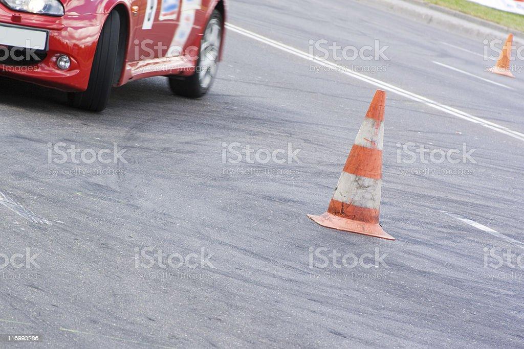 Car race: step turn stock photo
