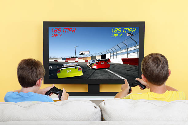 car racing video game - gchutka stock pictures, royalty-free photos & images