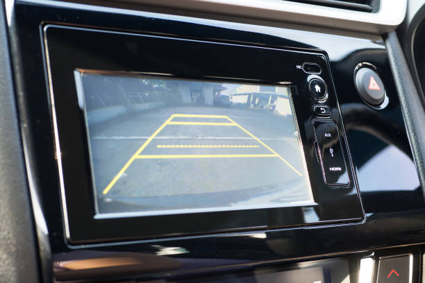 Car Rear View System Monitor reverse stock photo