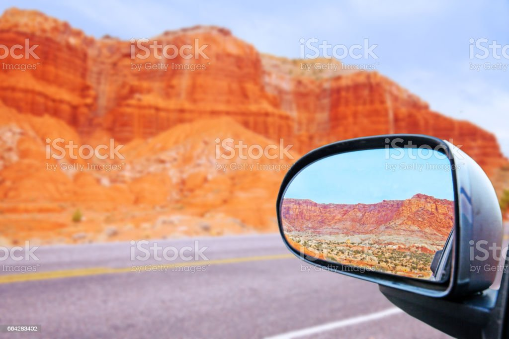 car rearview mirror the Capitol Reef Rocky Mountains stock photo