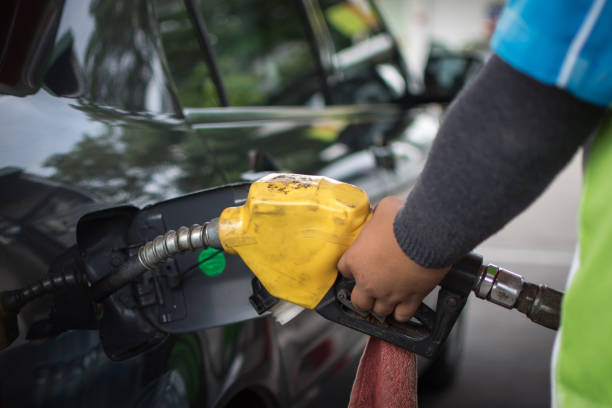 car refuel at Gas Station,out of fuel in the car stock photo