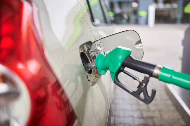 Car refueling on a petrol station. close up view stock photo
