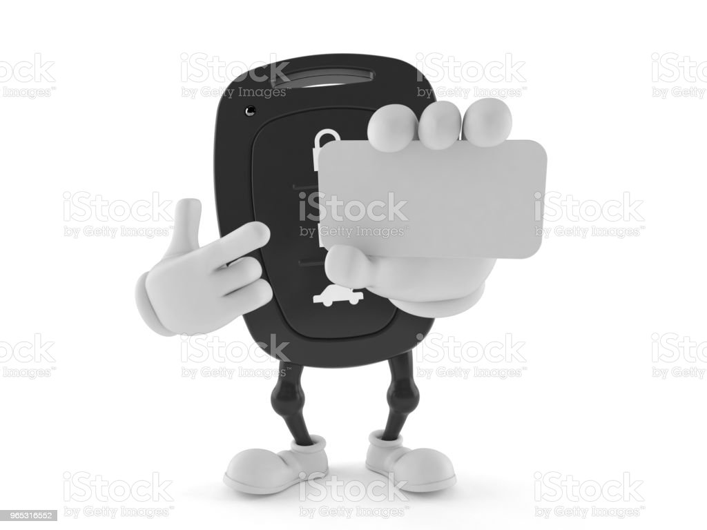 Car remote key character holding blank business card zbiór zdjęć royalty-free