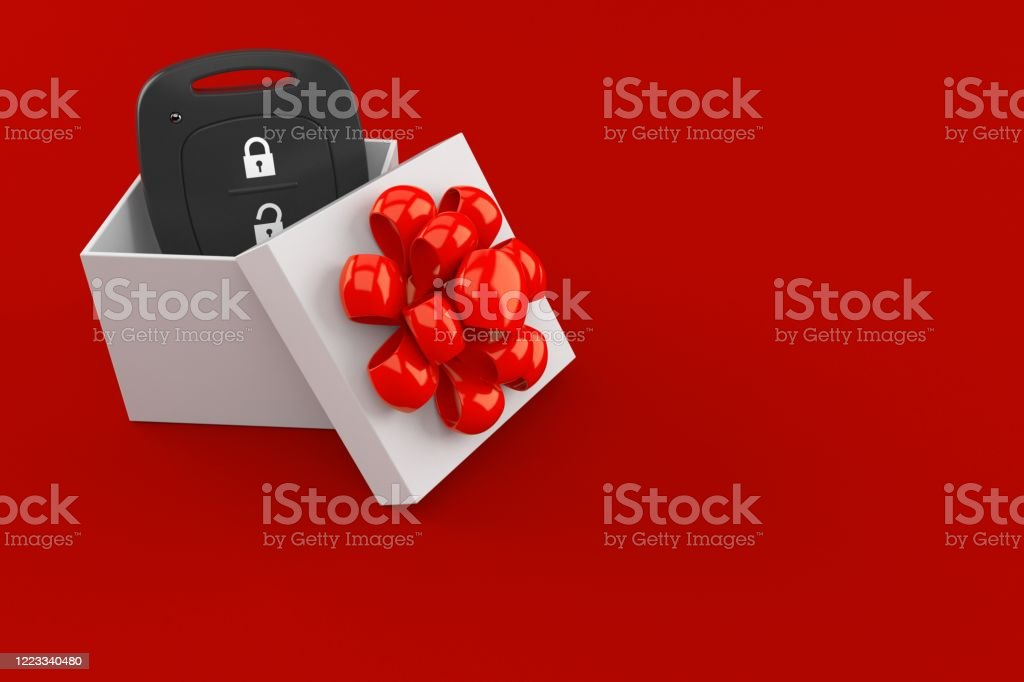 Car remote key inside gift - Foto stock royalty-free di Allarme