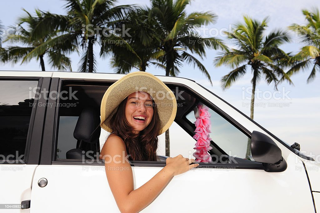 car rental: happy woman on summer vacation royalty-free stock photo