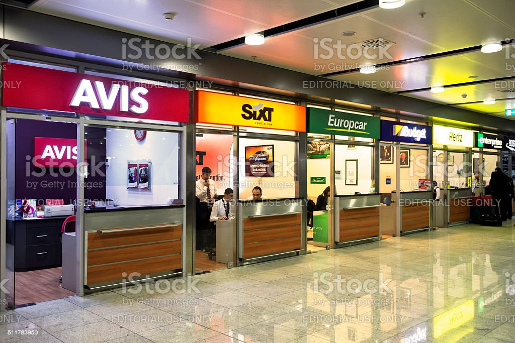 Car Rental Offices in Sabiha Gokcen Airport, Istanbul stock photo