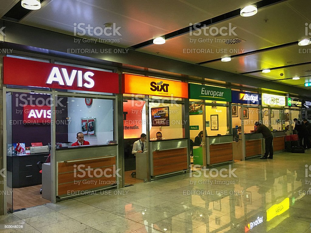 Car Rental Offices in Sabiha Gokcen Airport, Istanbul, Turkey stock photo
