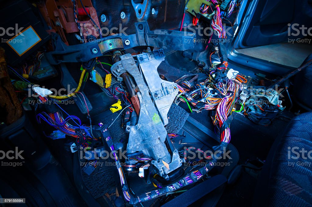 car repair & electric wiring system stock photo