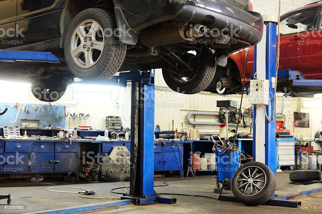 Charming Car Repair Garage Stock Photo