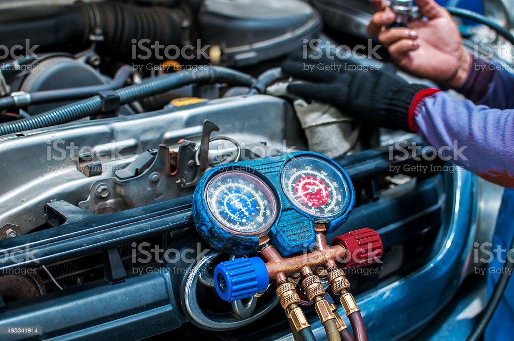 Car Repair, aire acondicionado - Foto de stock de 2015 libre de derechos