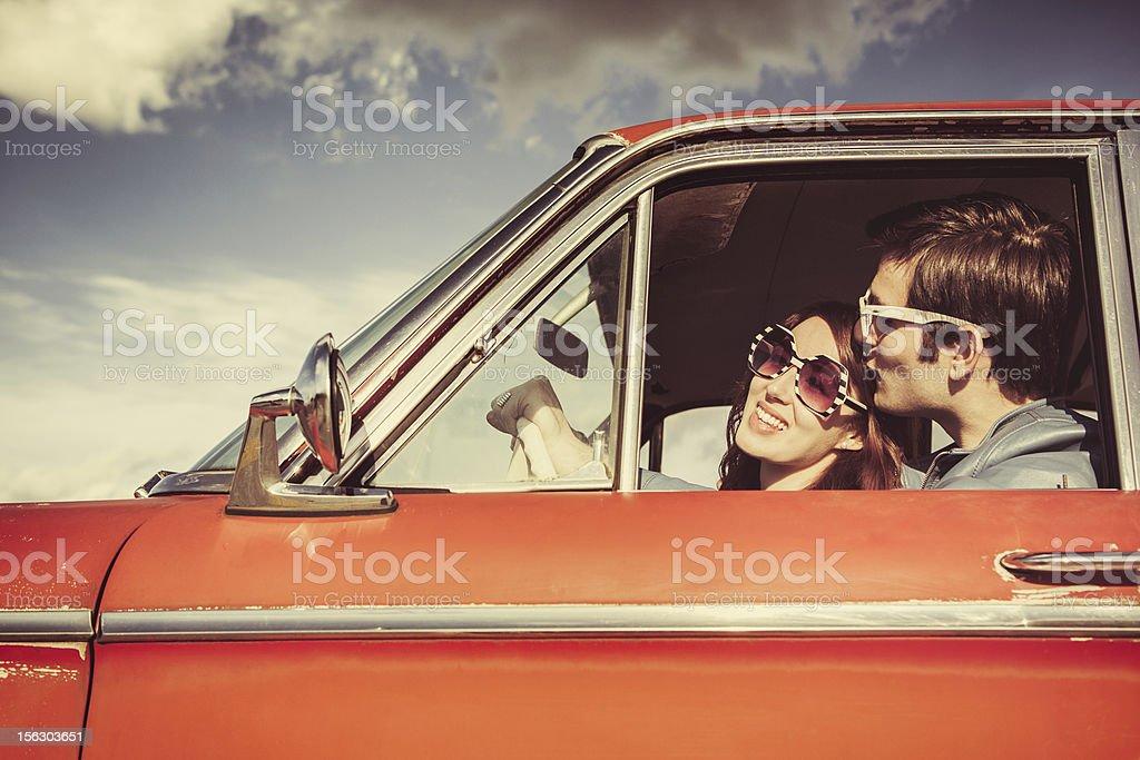 Car Ride Couple Retro stock photo