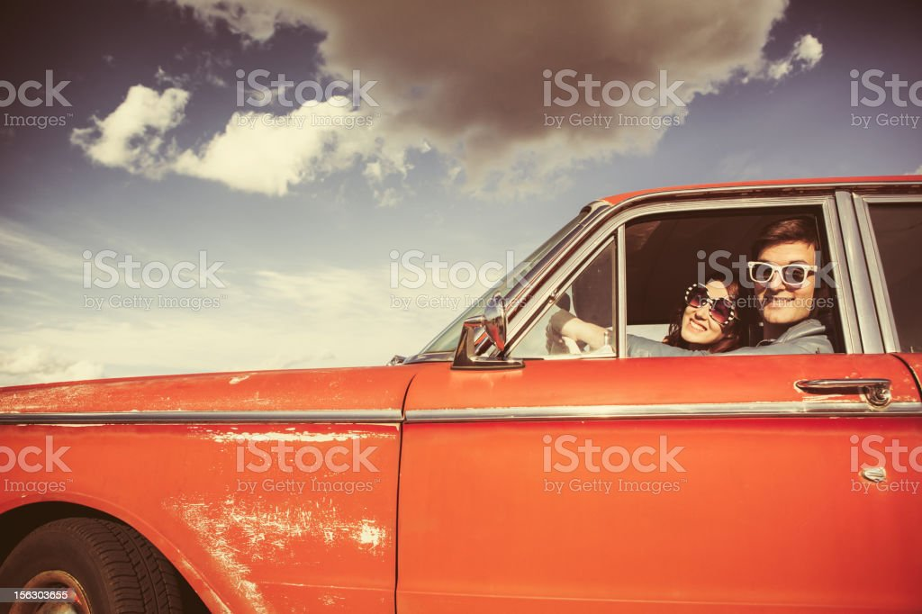 Car Ride Couple Retro stock photo