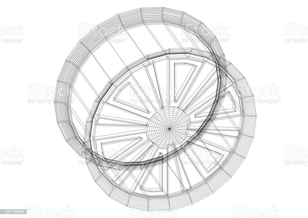 Auto Felge Architekt Blueprint - isoliert – Foto