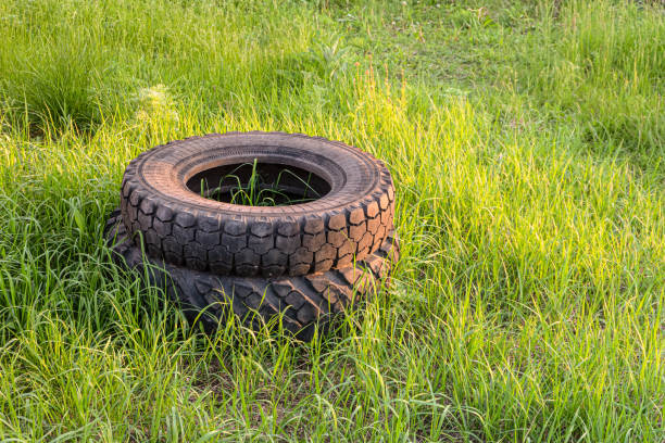 Car rubber tires thrown into a stack on green grass. Nono-ecological technogenic material in nature. Environmental pollution. Car rubber tires thrown into a stack on green grass. Nono-ecological technogenic material in nature. Environmental pollution. deleterious stock pictures, royalty-free photos & images