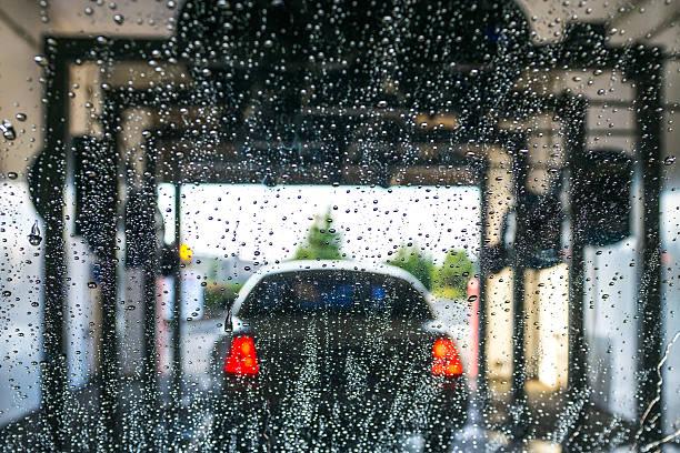 car Running through automatic car wash. stock photo