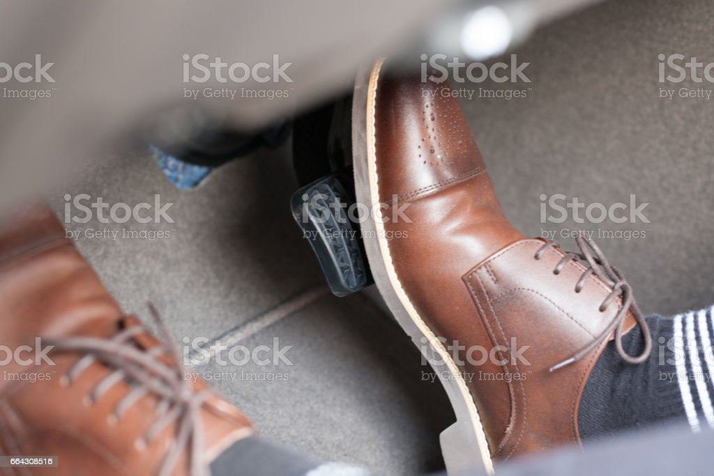 car safety system on the feet Accident and brake, danger of auto motor-driven bikes, driving habits stock photo