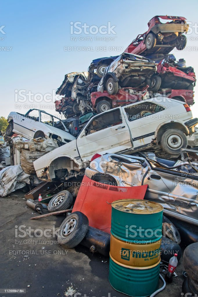 Zabalj, Serbia, Backa, October 10, 2018. Auto waste with lots of cars...