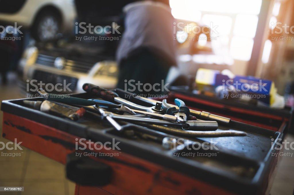 Car service maintenance indoors stock photo