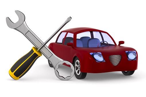 Autoservice Op Witte Achtergrond Geïsoleerde 3d Illustratie Stockfoto en meer beelden van Apparatuur