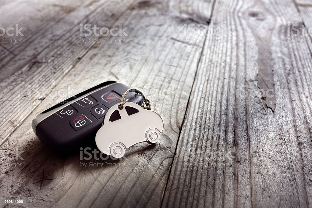 Car shape keyring and keyless entry remote stock photo