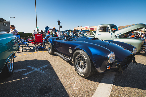Cayucos car show. Classic Car Show, an annual tradition in downtown Cayucos.  Cayucos is a tiny, historic little  beach town in California`s Central Coast. Cayucos, California/USA - November 2, 2019