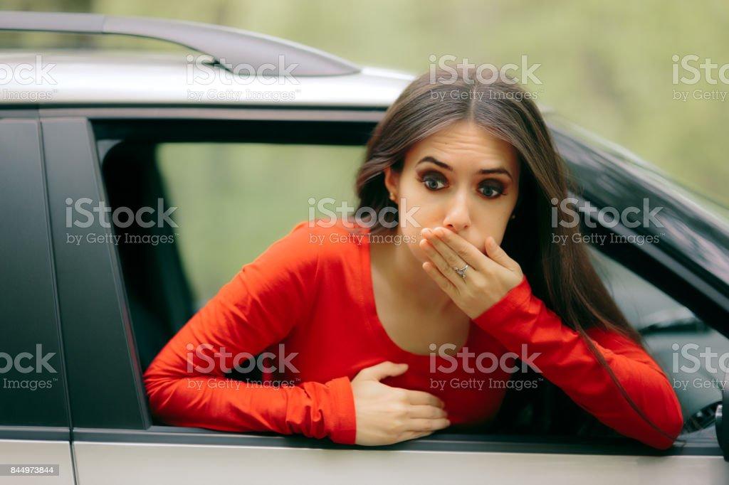 Car Sick Woman Having Motion Sickness Symptoms stock photo