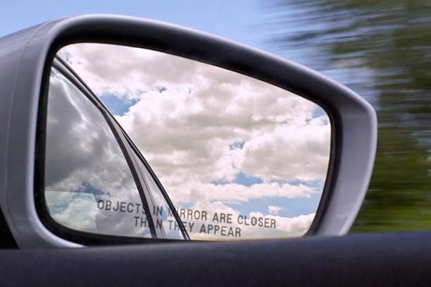 Car Side Rear-View Mirror w/ Rural View stock photo
