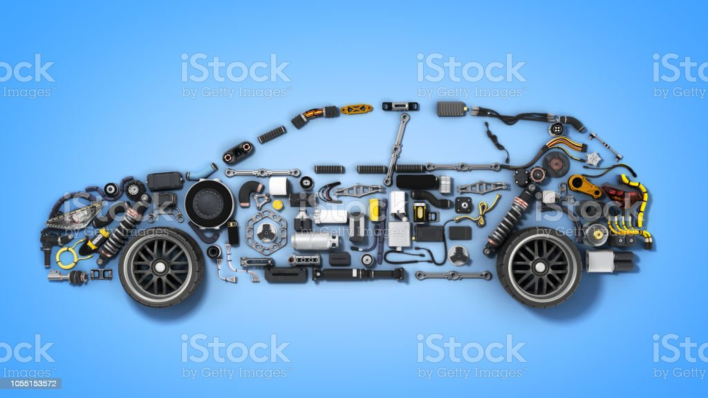car silhouette made of details 3d render on blue stock photo