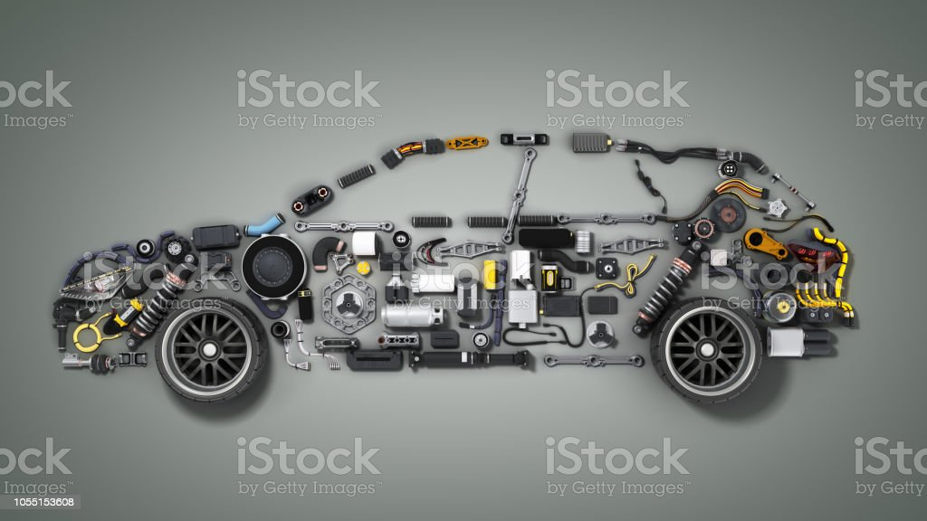 car silhouette made of details 3d render on grey stock photo
